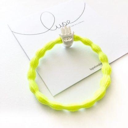 LUPE Silver Hamsa Neon Lime